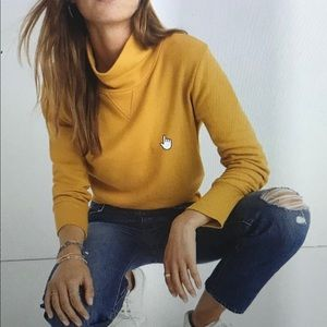 NWT MADEWELL Large yellow turtleneck sweatshirt